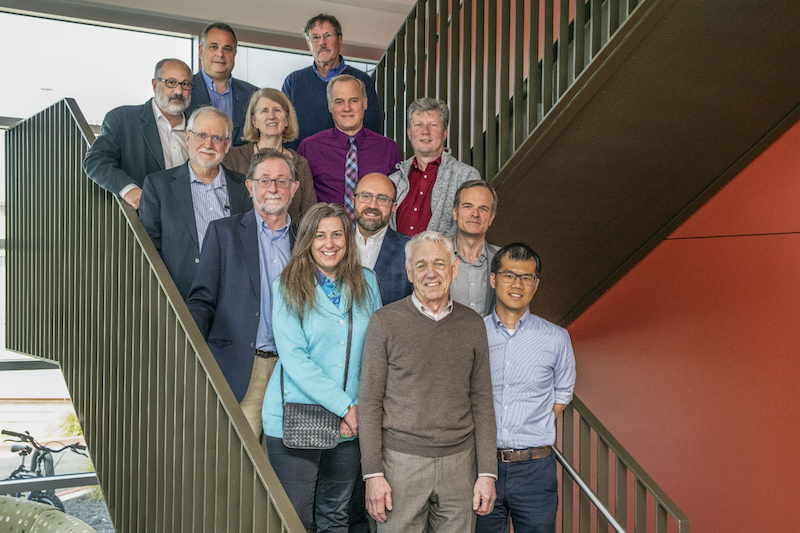 Photo of Advanced Light Source's Scientific Advisory Committee members on Building 15 stairs.