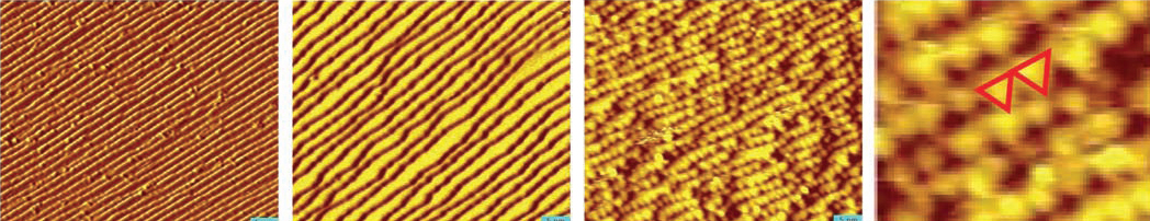 First two images show diagonal stripes (yellow/brown), with second image showing wider yellow stripes. The last two images show wide and close-up views of triangular nanoclusters.
